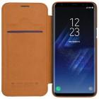 """Greznais """"Nillkin"""" Qin sērijas ādas atvērams brūns Samsung Galaxy S9 (G960) maciņš"""