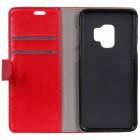 Samsung Galaxy S9 (G960) atvēramais ādas sarkans maciņš (maks)