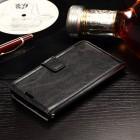 Sony Xperia E4g atvēramais ādas melns maciņš (maks)