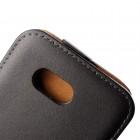 Sony Xperia E4g klasisks ādas vertikāli atvēramais melns maciņš