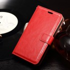 Sony Xperia E4g atvēramais ādas sarkans maciņš (maks)