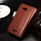 Sony Xperia E4g atvēramais ādas brūns maciņš (maks)