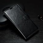 Sony Xperia XA atvēramais ādas melns maciņš (maks)