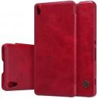 """Greznais """"Nillkin"""" Qin sērijas ādas atvērams sarkans Sony Xperia XA maciņš (maks)"""