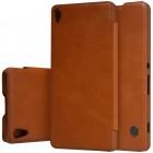 """Greznais """"Nillkin"""" Qin sērijas ādas atvērams brūns Sony Xperia XA maciņš (maks)"""