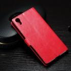 Sony Xperia XA1 atvēramais ādas sarkans maciņš (maks)