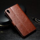 Sony Xperia XA atvēramais ādas brūns maciņš (maks)