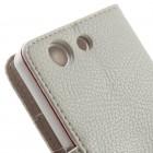 Sony Xperia Z3 atvēramais balts ādas Litchi futrālis - maciņš