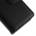 Sony Xperia Z3 atvēramais melns ādas Litchi futrālis - maciņš