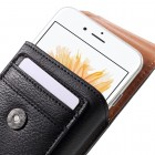 Apple iPhone 8 Plus Universāls aizverams melns maciņš, ar kabatiņu kartem ielikt un iespēju piestiprināt pie siksnas (XL+ izmērs)