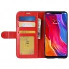 Xiaomi Mi 8 atvēramais ādas sarkans maciņš (maks)